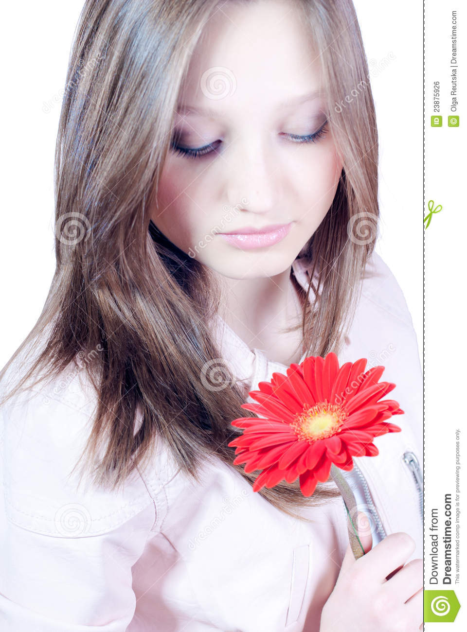 Beautiful young girl with flower isolated