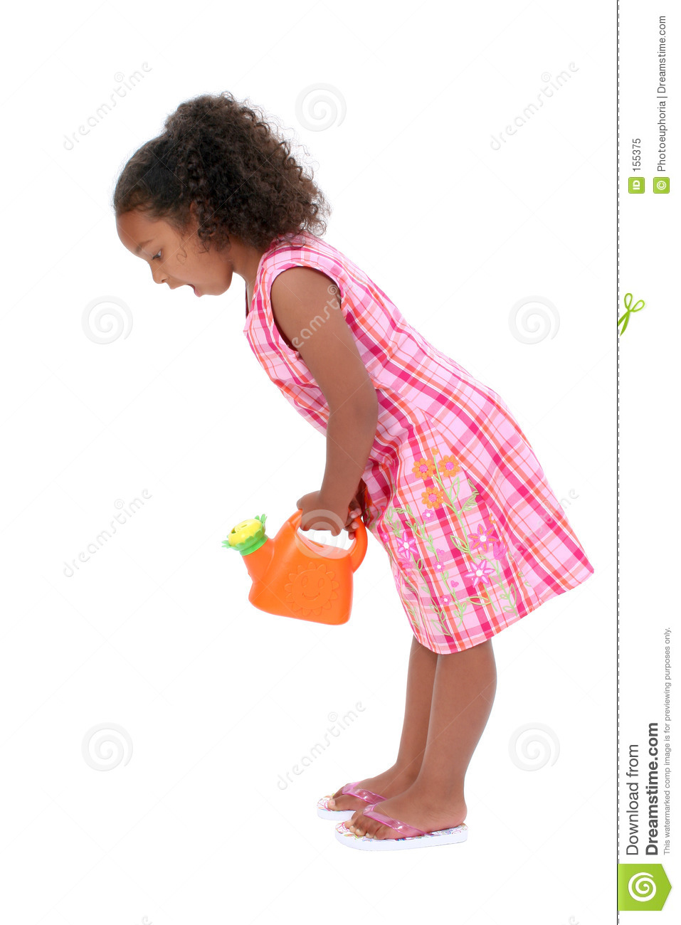Beautiful Young Girl With Flower Watering Can Looking Down Surpr