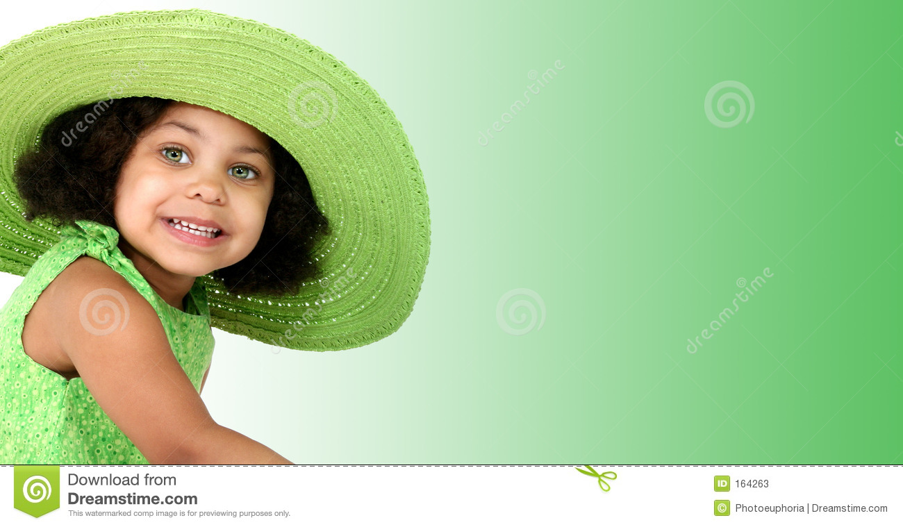 Beautiful Young Girl In Green Summer Hat