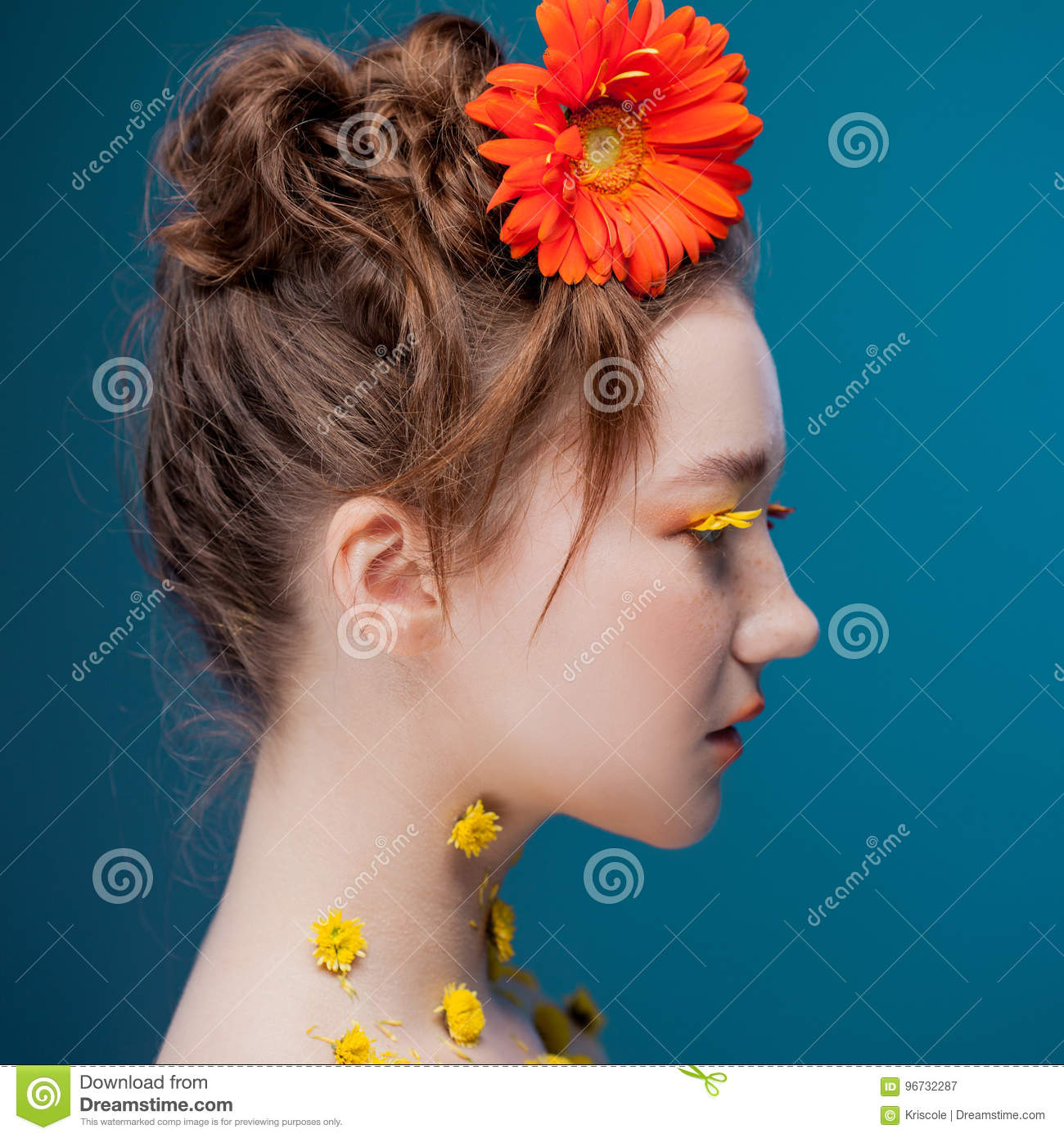 Beautiful young girl in the image of flora, close-up portrait