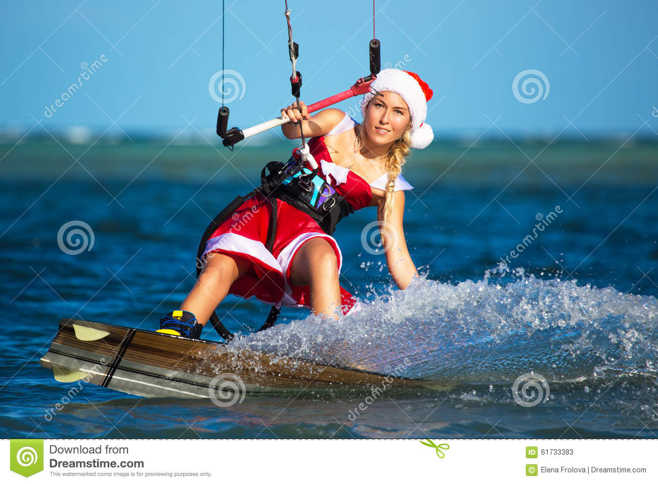 Beautiful Young Girl On The Kite In The Costume Of Santa Claus