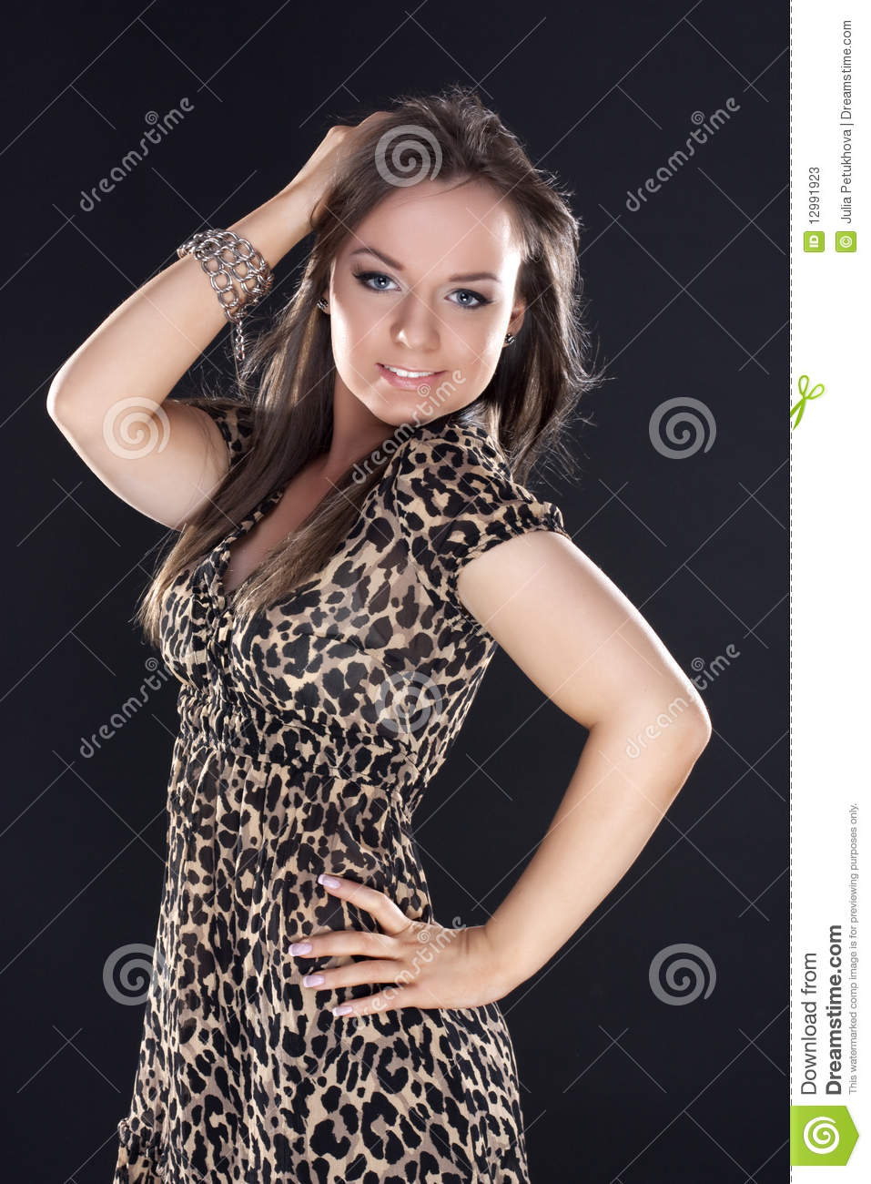b8d4d7e3551d Beautiful Young Girl In A Leopard Dress Stock Image - Image of ...