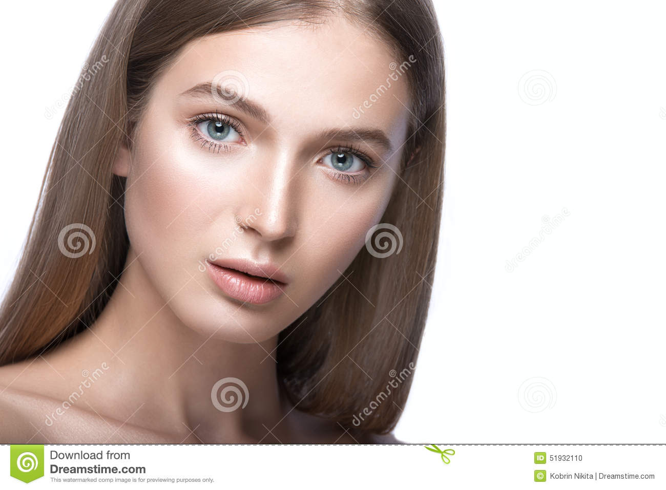 Beautiful Young Girl With A Light Natural Make Up Beauty Face Stock Photo Image 51932110