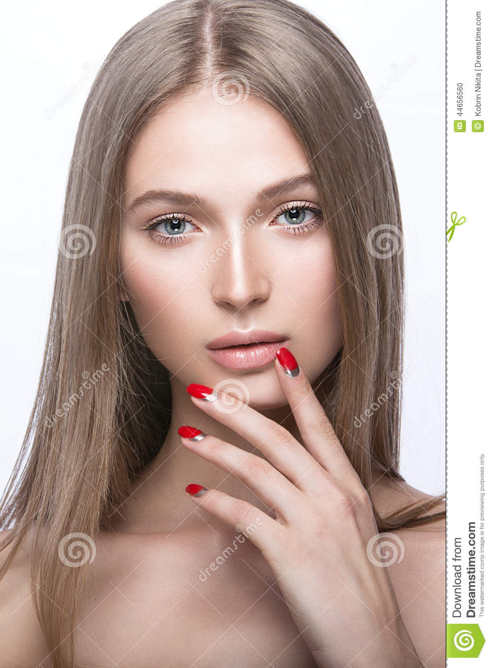Beautiful Young Girl With A Light Natural Make Up And Red Nails Stock Photo Image 44656560