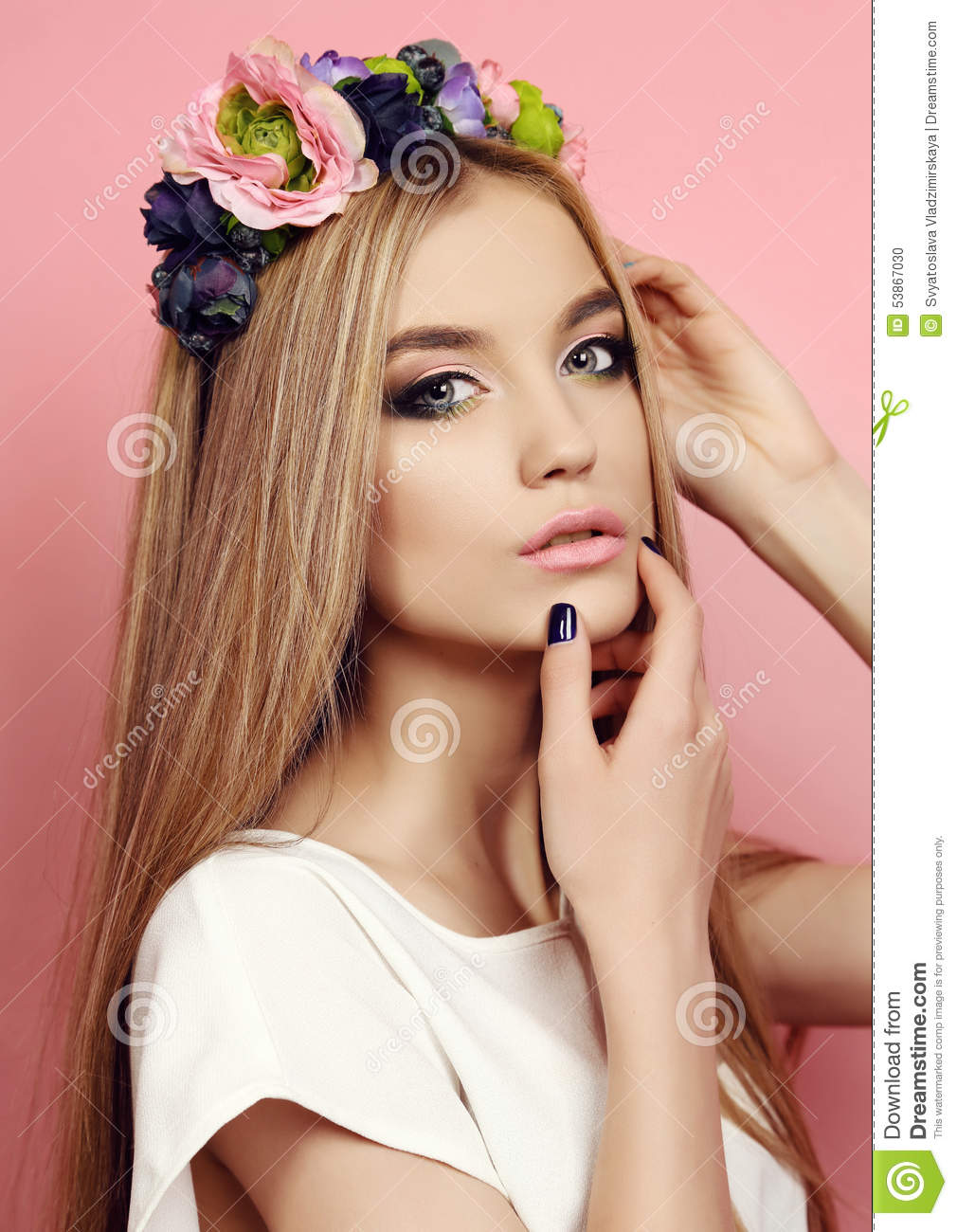 Beautiful young girl with long straight hair with bright flowers fashion studio photo of beautiful young girl with long straight natural hair with bright flowers headband izmirmasajfo