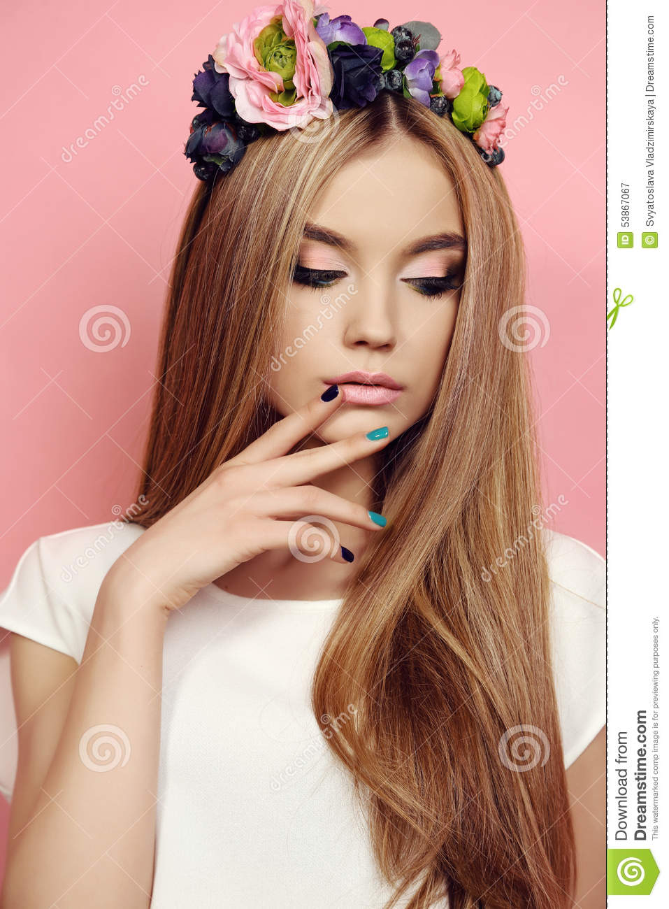 Fashion studio photo of beautiful young girl with long straight natural  hair with bright flower s headband 6efafd88591