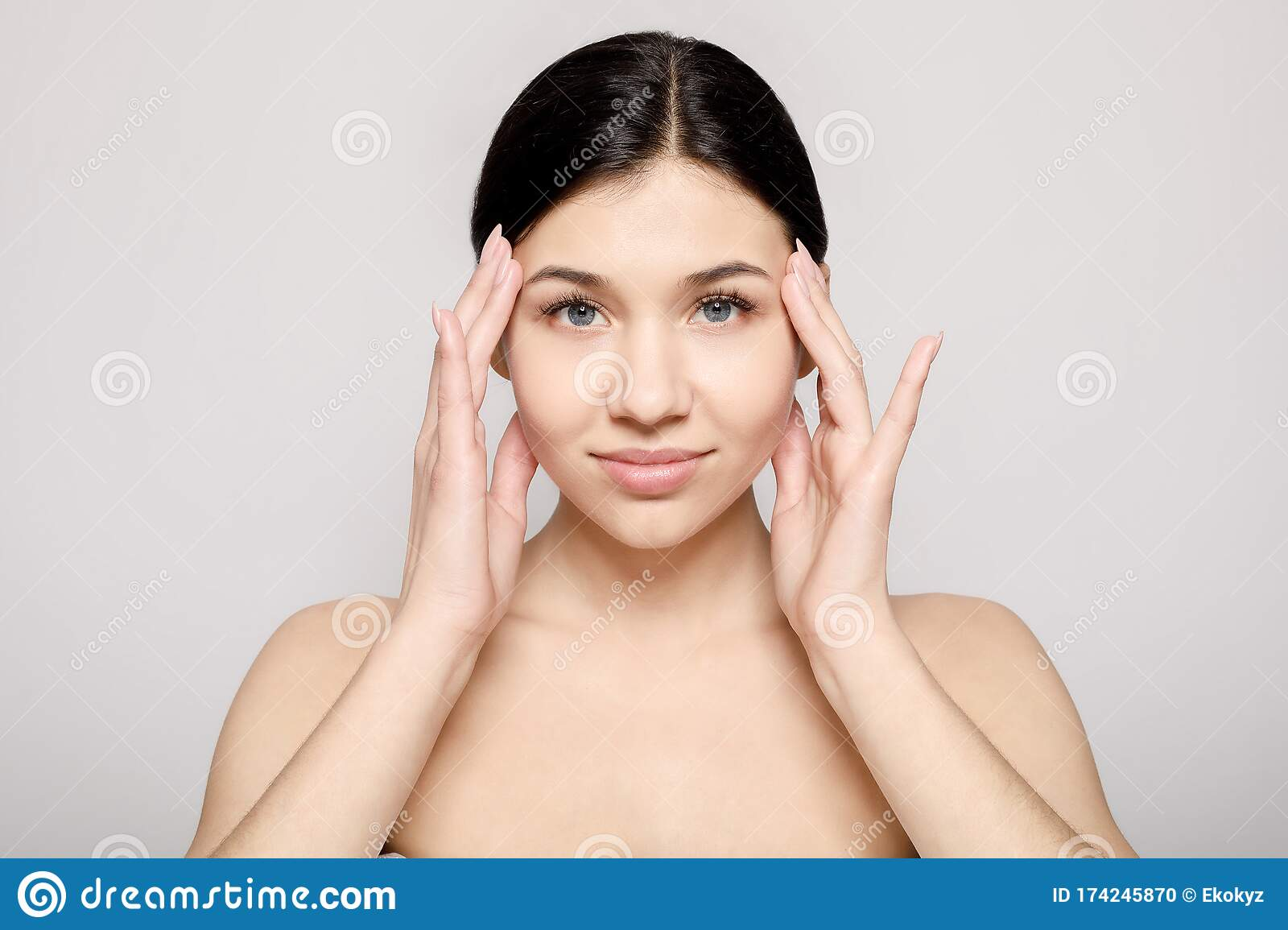 Portrait Of Woman With Naked Shoulders Stock Photo - Image