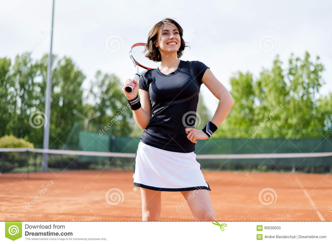 Beautiful Young Girl On The Open Tennis Court Editorial Stock Photo