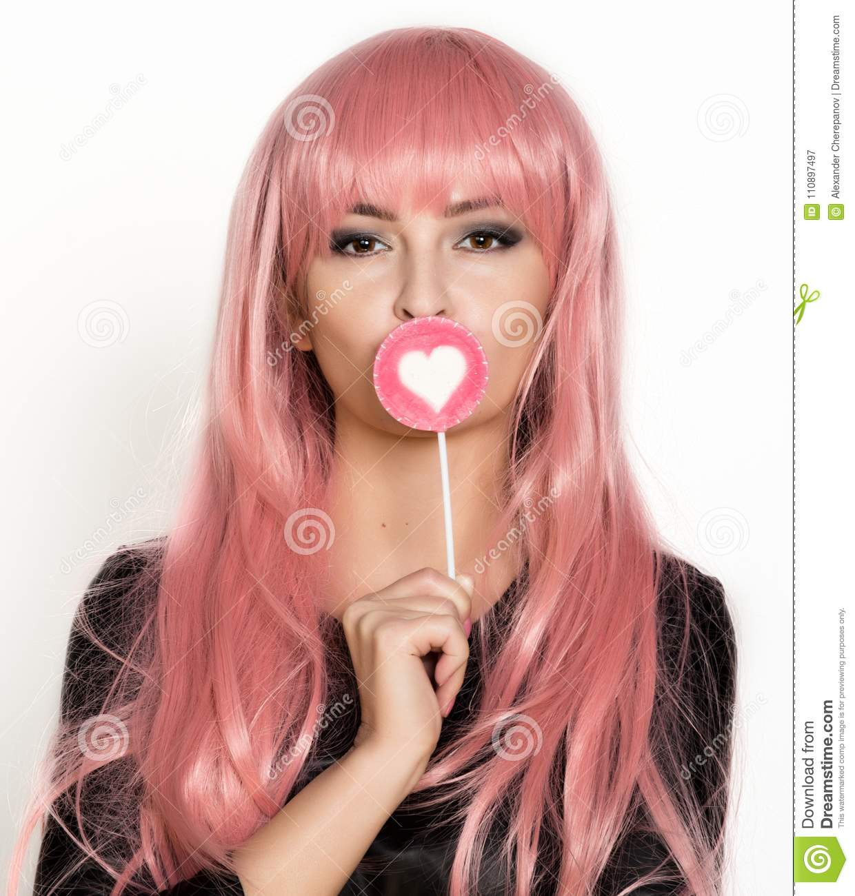 Beautiful Young Girl With Pink Hair Smile And Brigth Light With