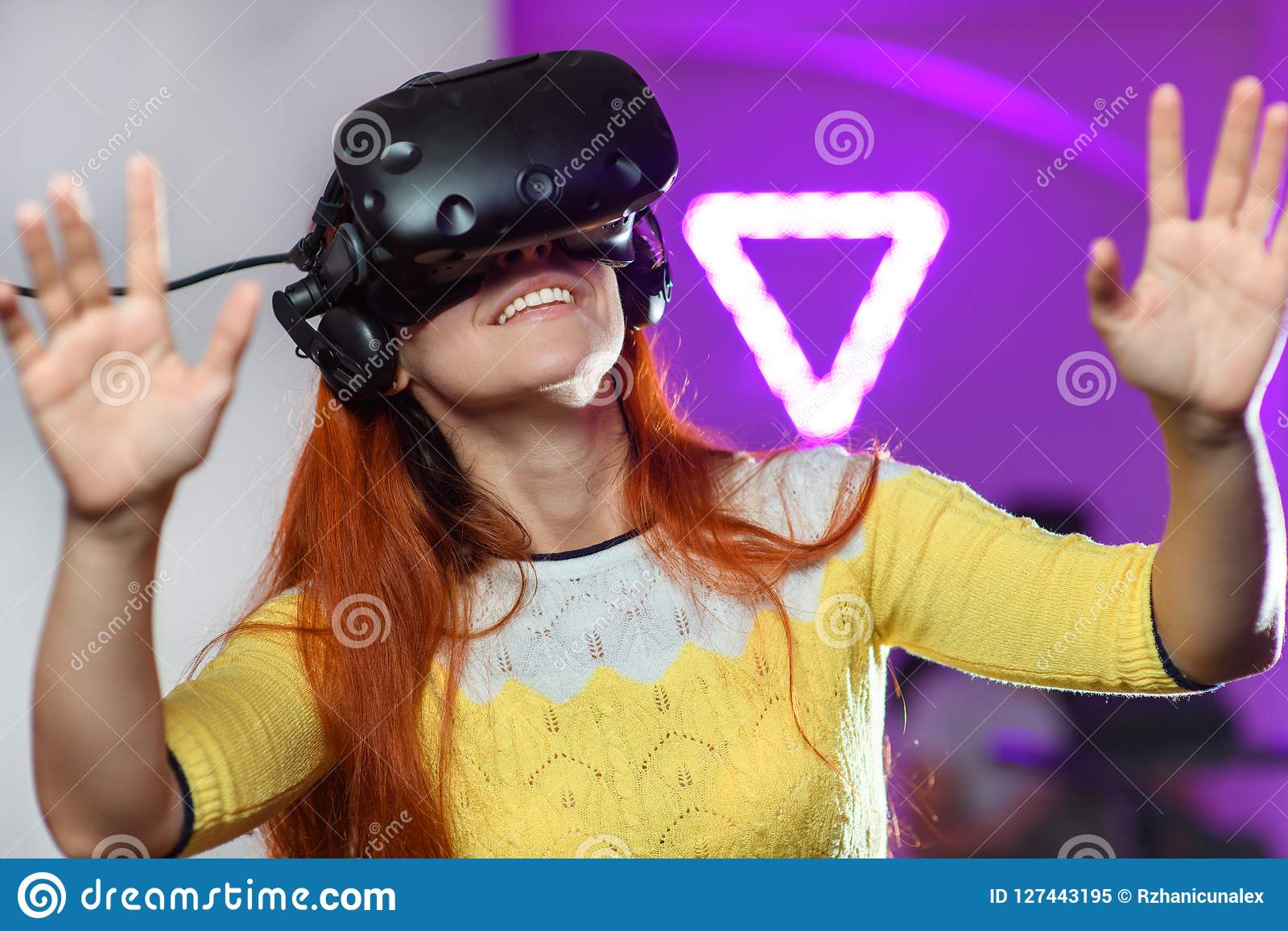 The Young Little Girl With Vr Virtual Reality Glasses