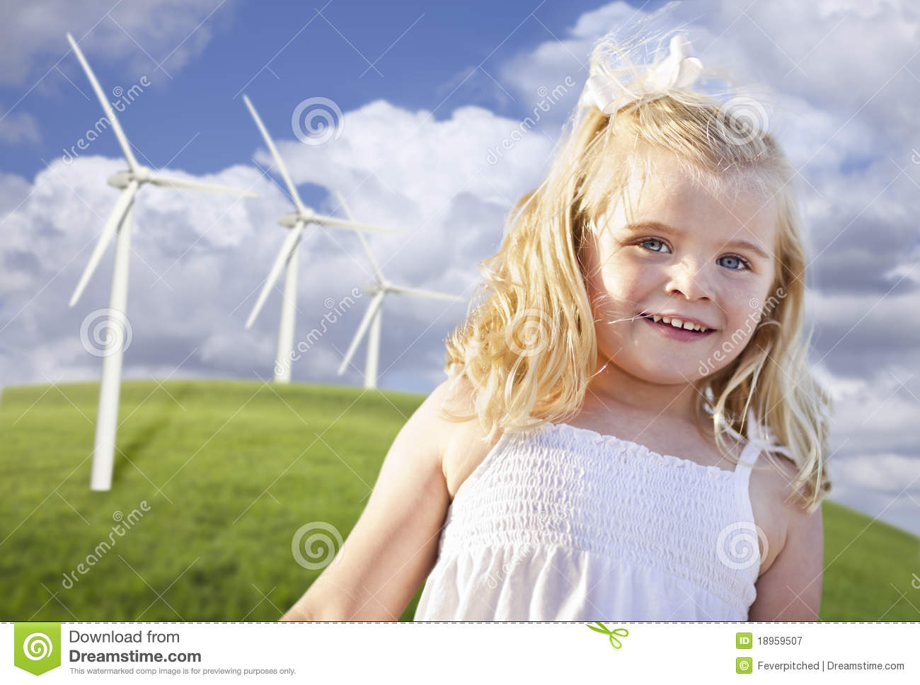 Download Beautiful Young Girl Playing In Wind Turbine Field Stock Image - Image of conservation, development: 18959507
