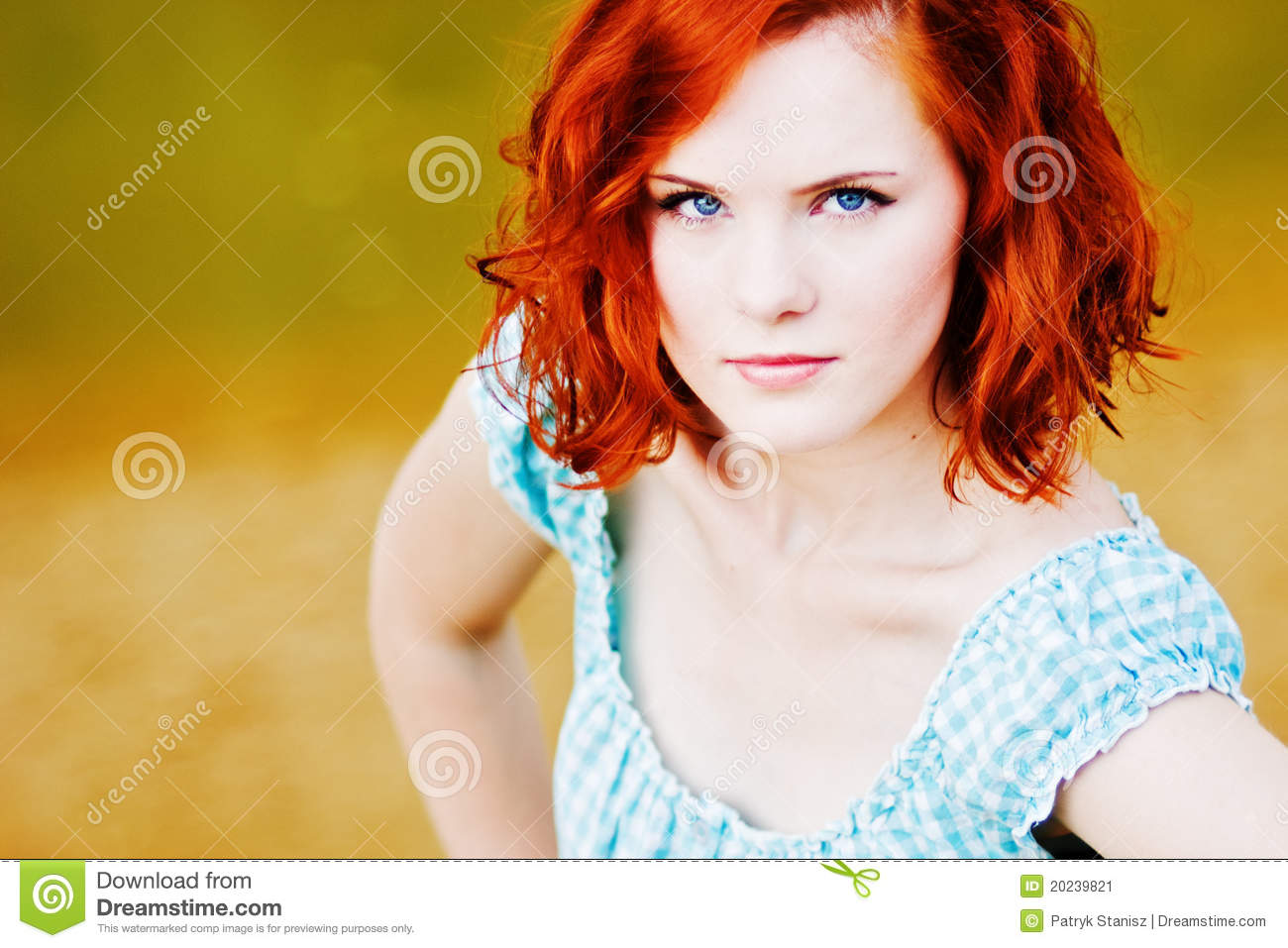 Important Young girl with red hair strange apologise