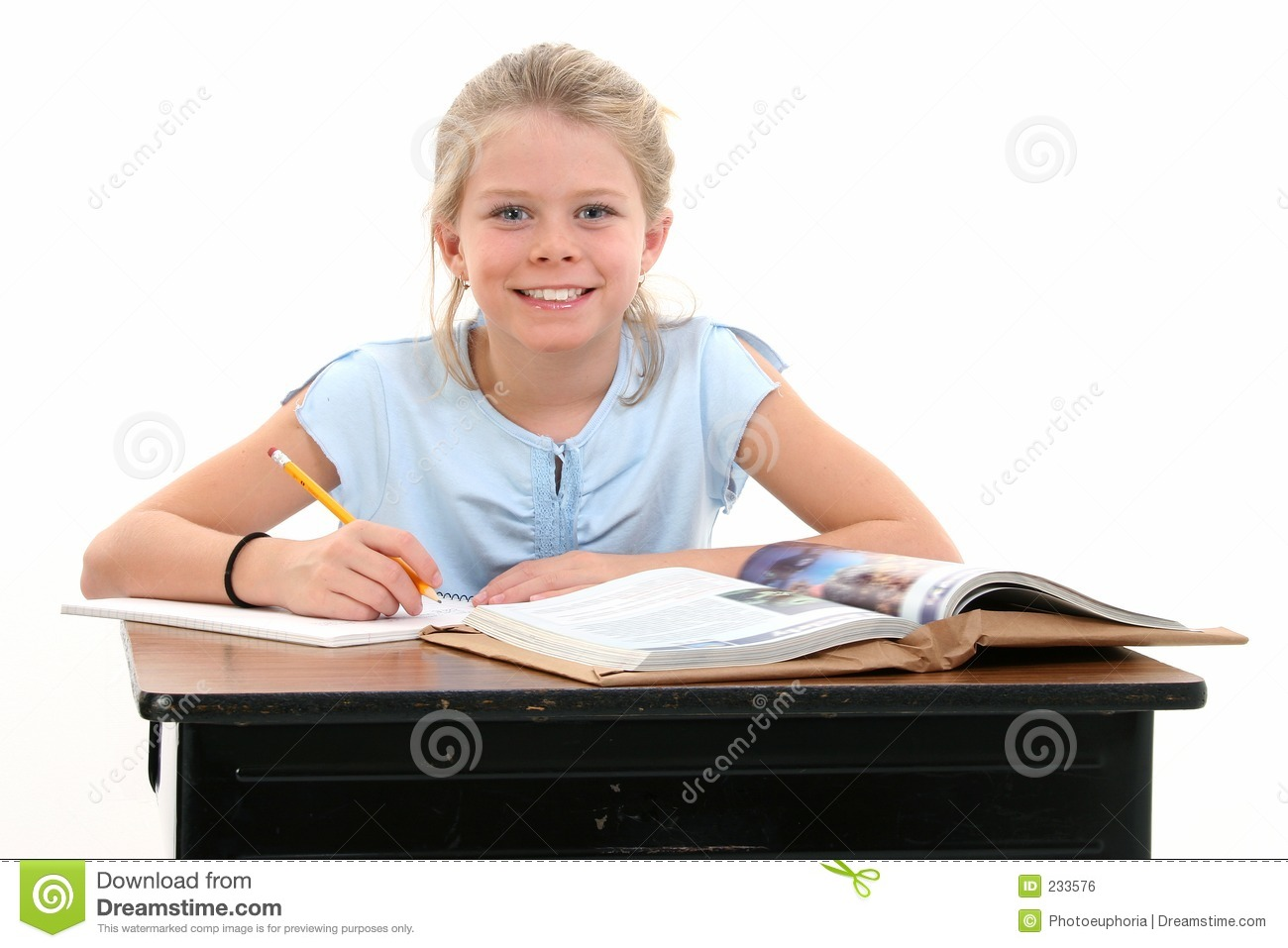 Beautiful young girl sitting at school desk royalty free stock image image 233576 - Desk girl image in ...