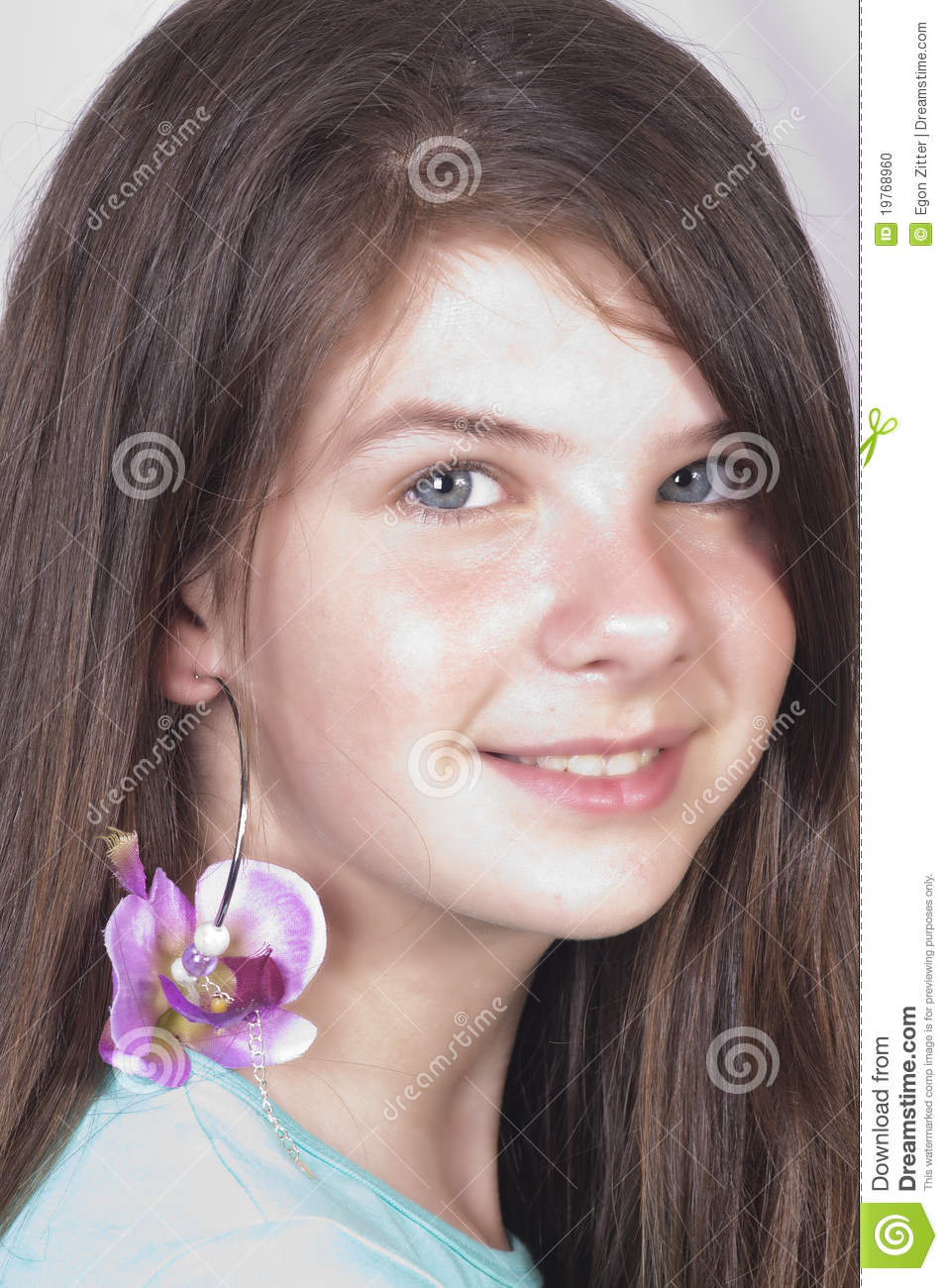 Beautiful Young Girl With Trendy Earring Stock Photo