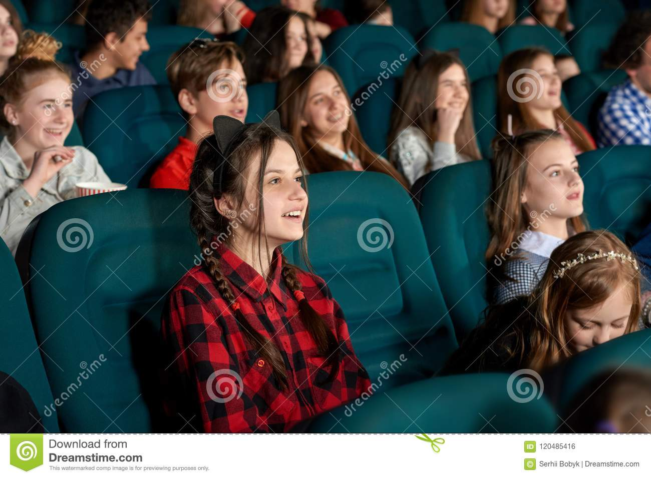 Youth Watching Film And Laughing In Cinema Stock Photo Image Of