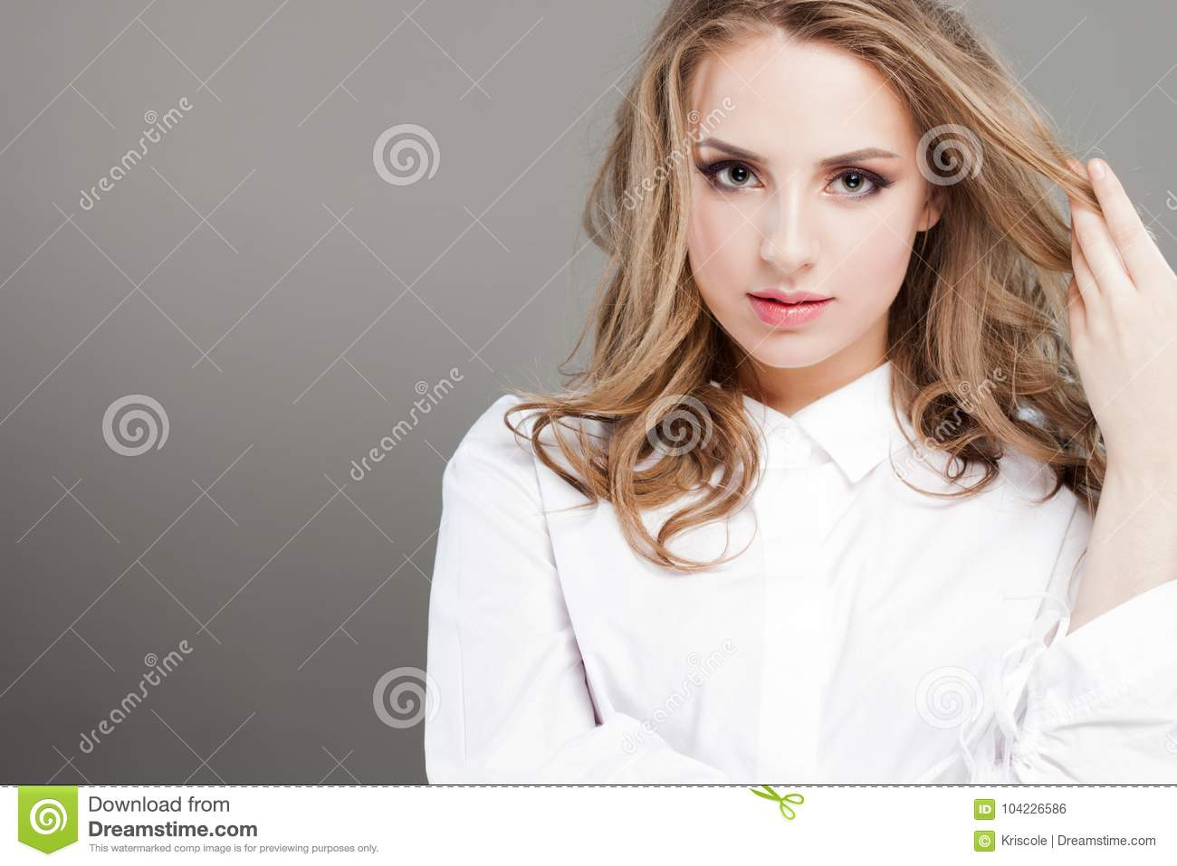 Beautiful Young Woman In White Blouse Portrait Close Up Perfect