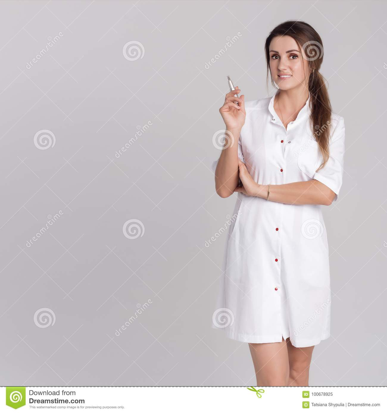 Beautiful Young Girl In White Dressing Gown Master On Permanent Make ...
