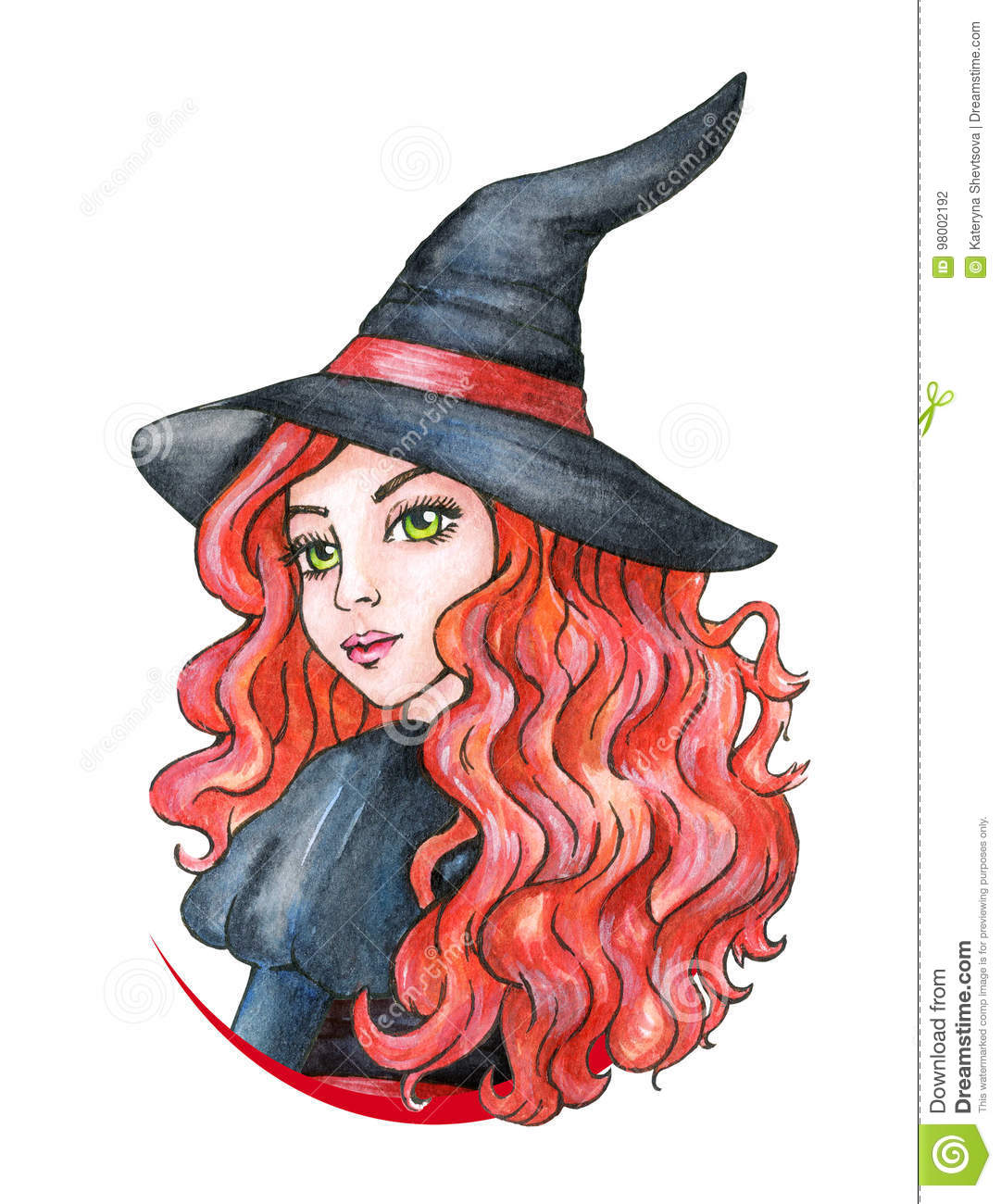 Beautiful Young Girl   Witch. Halloween Costume. Watercolor Illustration