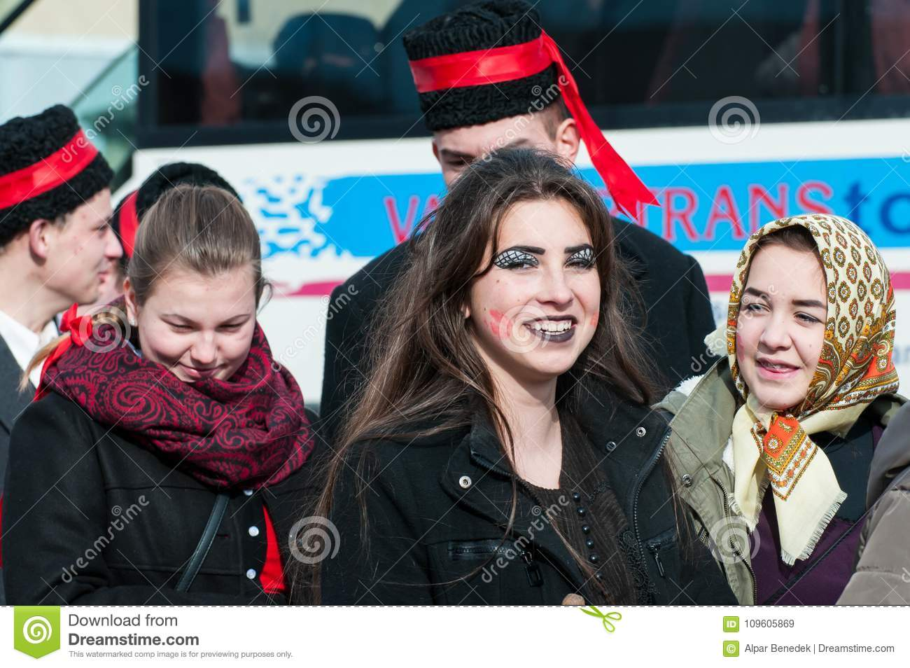 05f4493d1 Beautiful young girls portrait on the winter ending Transylvanian  traditional carnival