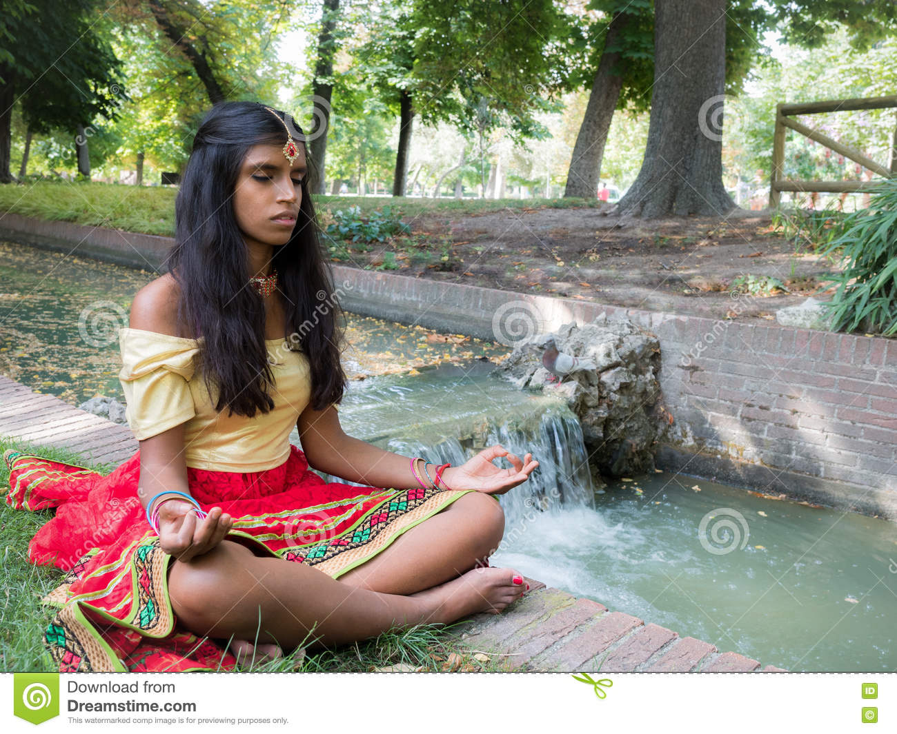 Beautiful Young Indian Woman Practicing Meditation In The Park Stock Photo Image Of Buddhism Indian 77853954