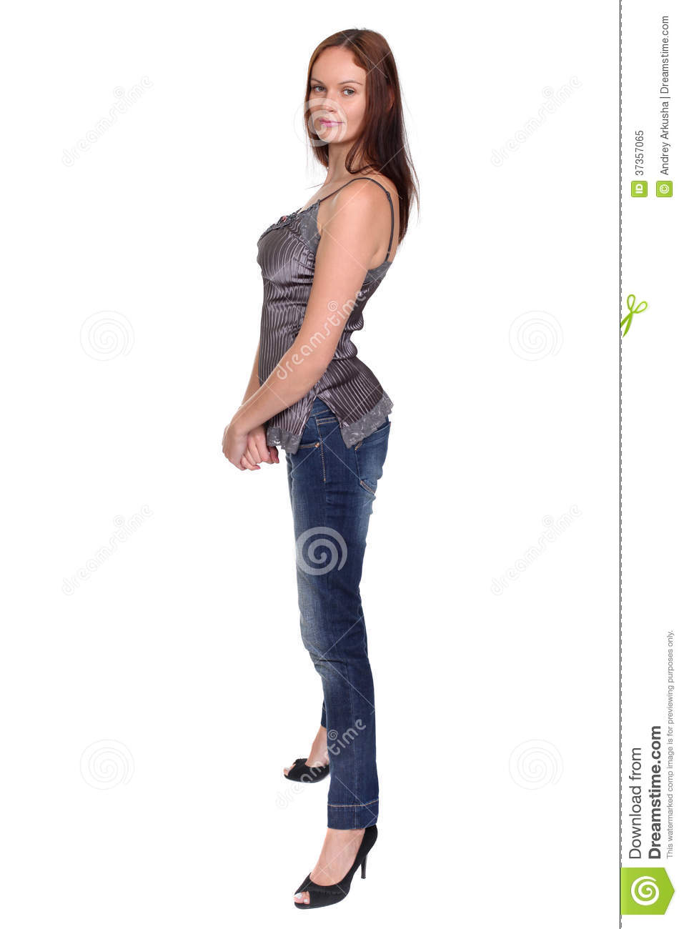 Beautiful young lady in blue jeans