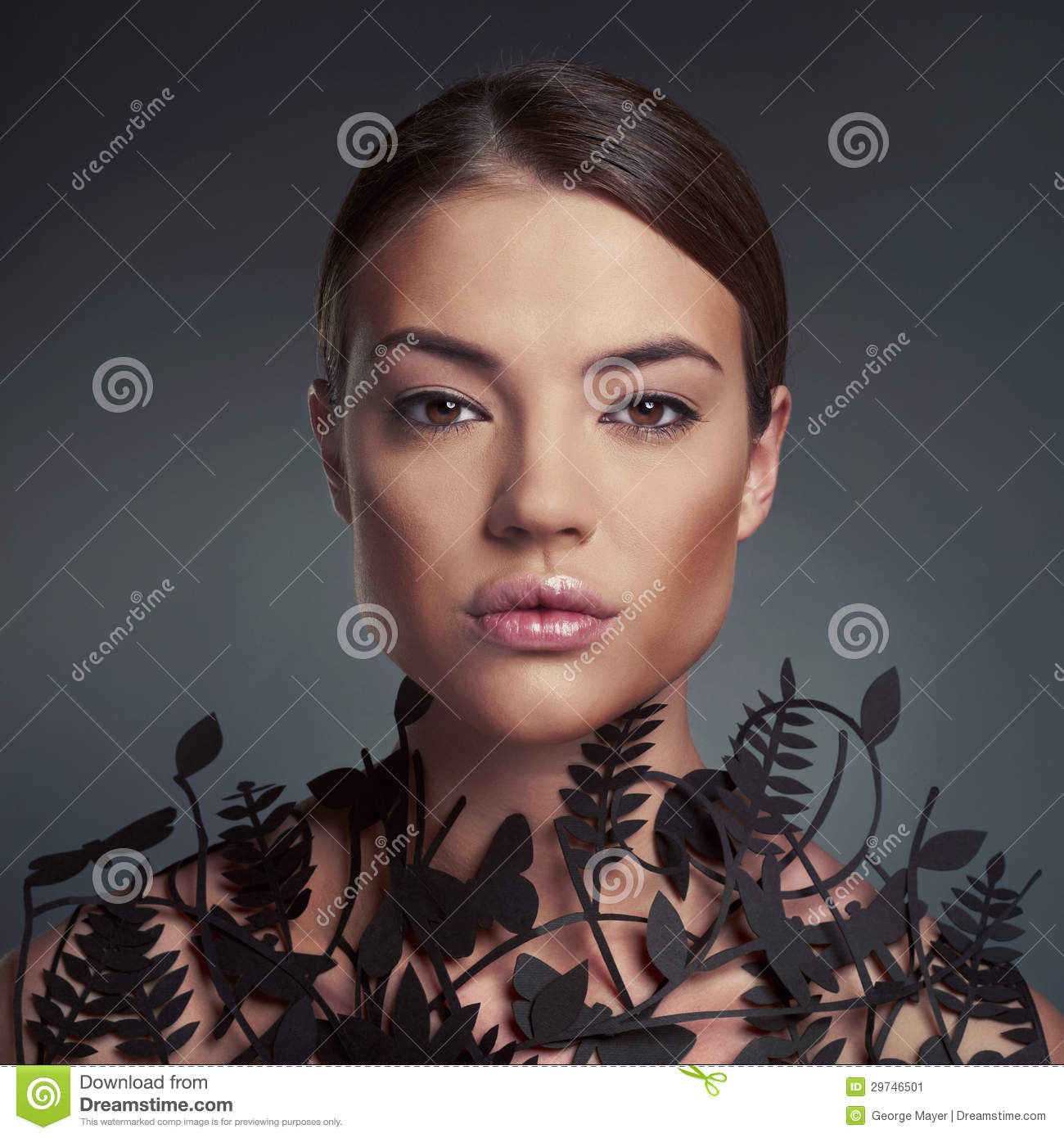 Beautiful lady with floral pattern on neck
