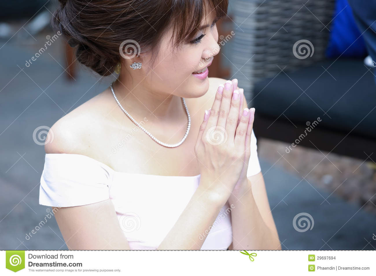 A Beautiful Young Lady Greeting In Thai Style Stock Photo Image Of