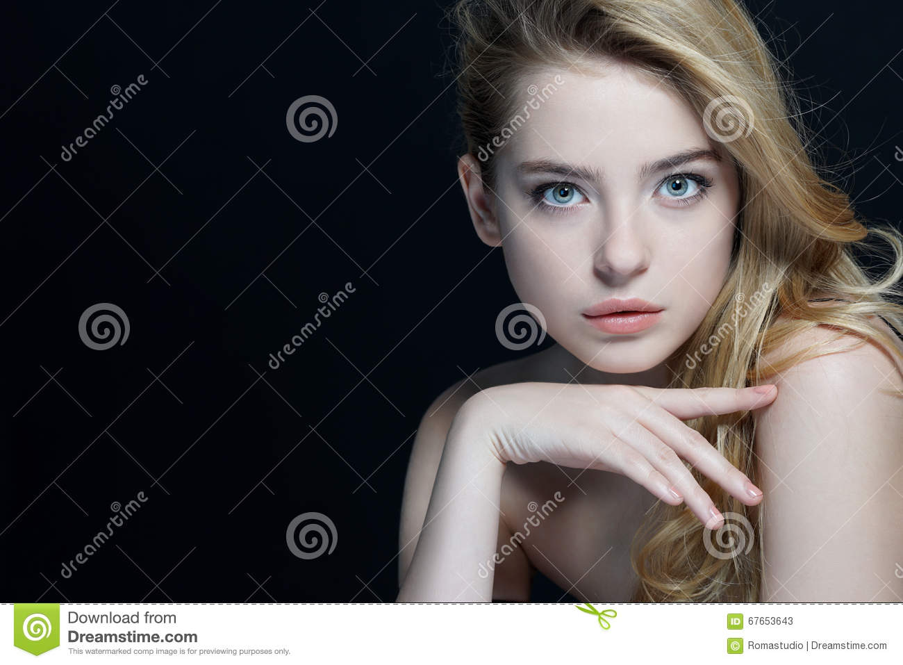 Beautiful young lady with make up face.