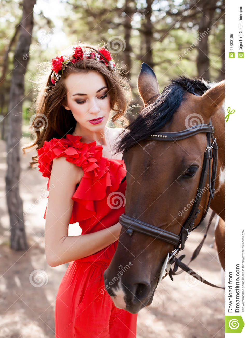Beautiful Young Lady Wearing Red Dress Riding A Horse At