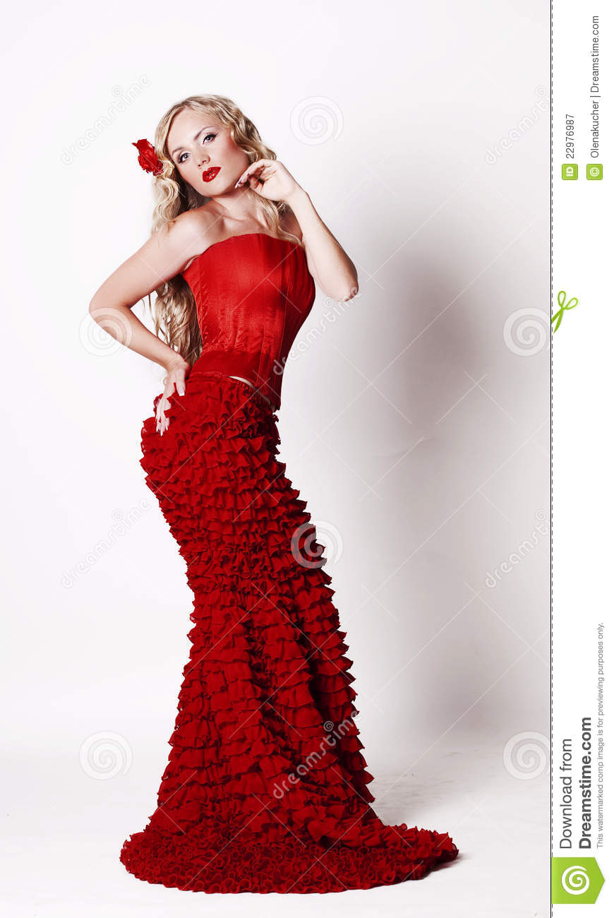 Beautiful Young Lady Wearing Red Rose Dress Stock Image