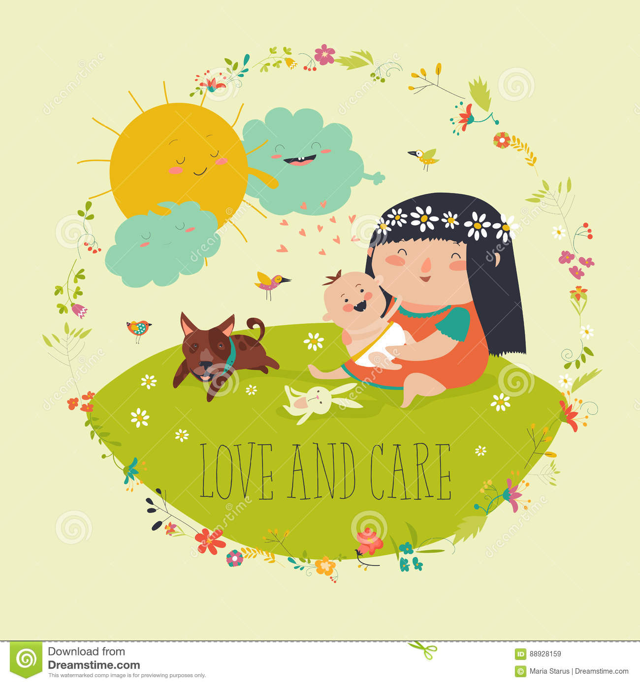 Beautiful Young Mother Hugging Little Toddler Stock Vector ...