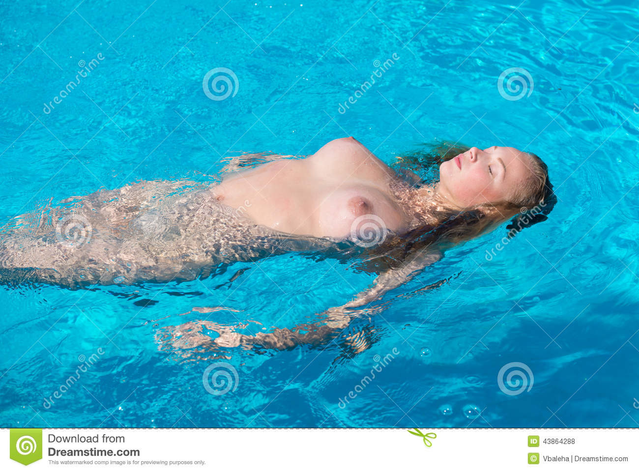 Beautiful naked women swimming
