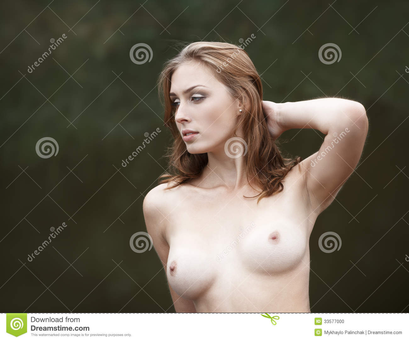 Beautiful Young Naked Woman Near A Small Pond Stock Photo -7219