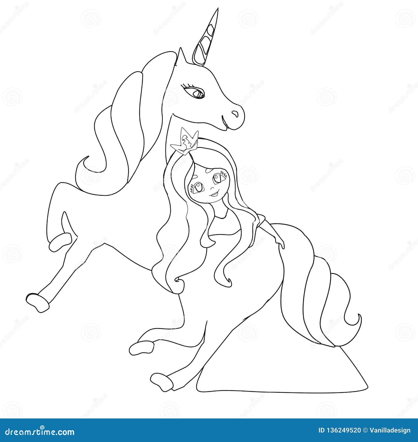 Beautiful young princess and unicorn, coloring book