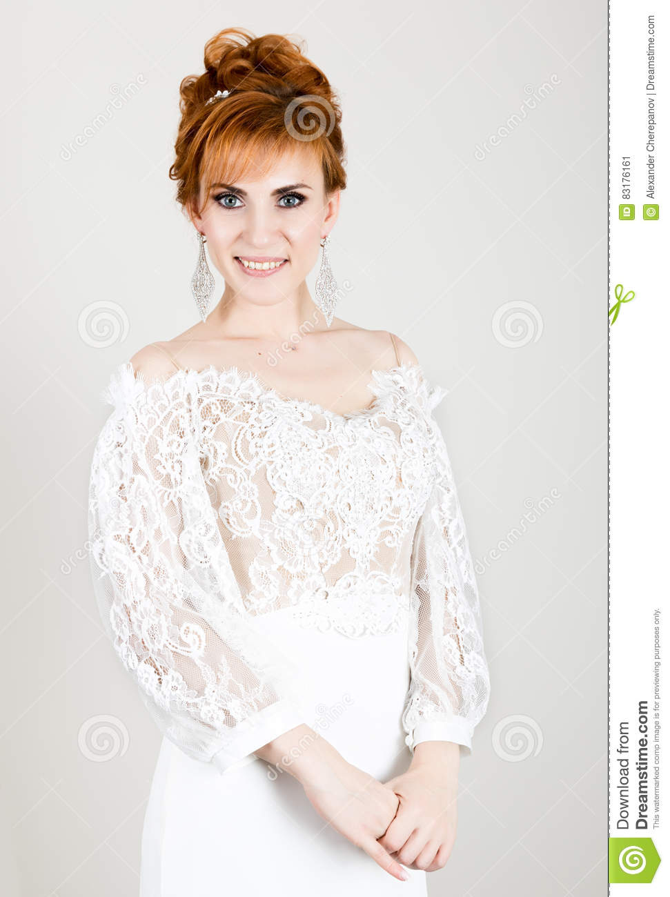 Beautiful Young Redhead Bride Wearing White Wedding Dress With ...