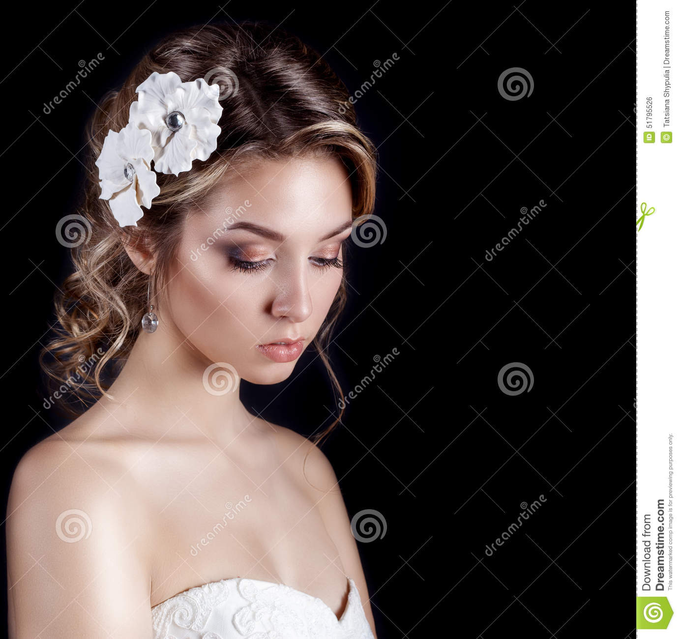 Beautiful young elegant happy smiling woman with red lips beautiful beautiful young elegant happy smiling woman with red lips beautiful stylish hairstyle with white flowers in her hair the way for the bride at a wedding mightylinksfo