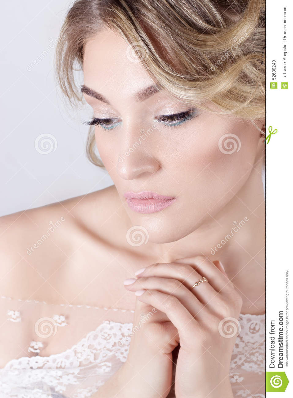 Beautiful young elegant sweet girl in the image of a bride with hair royalty free stock photo izmirmasajfo Gallery