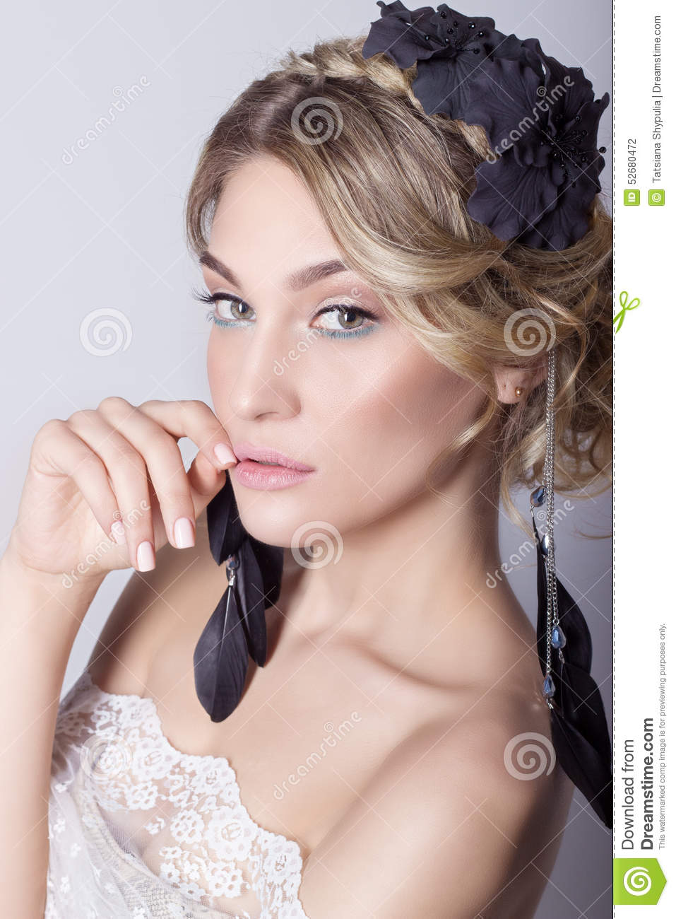 Beautiful Young Elegant Sweet Girl In The Image Of A Bride ...