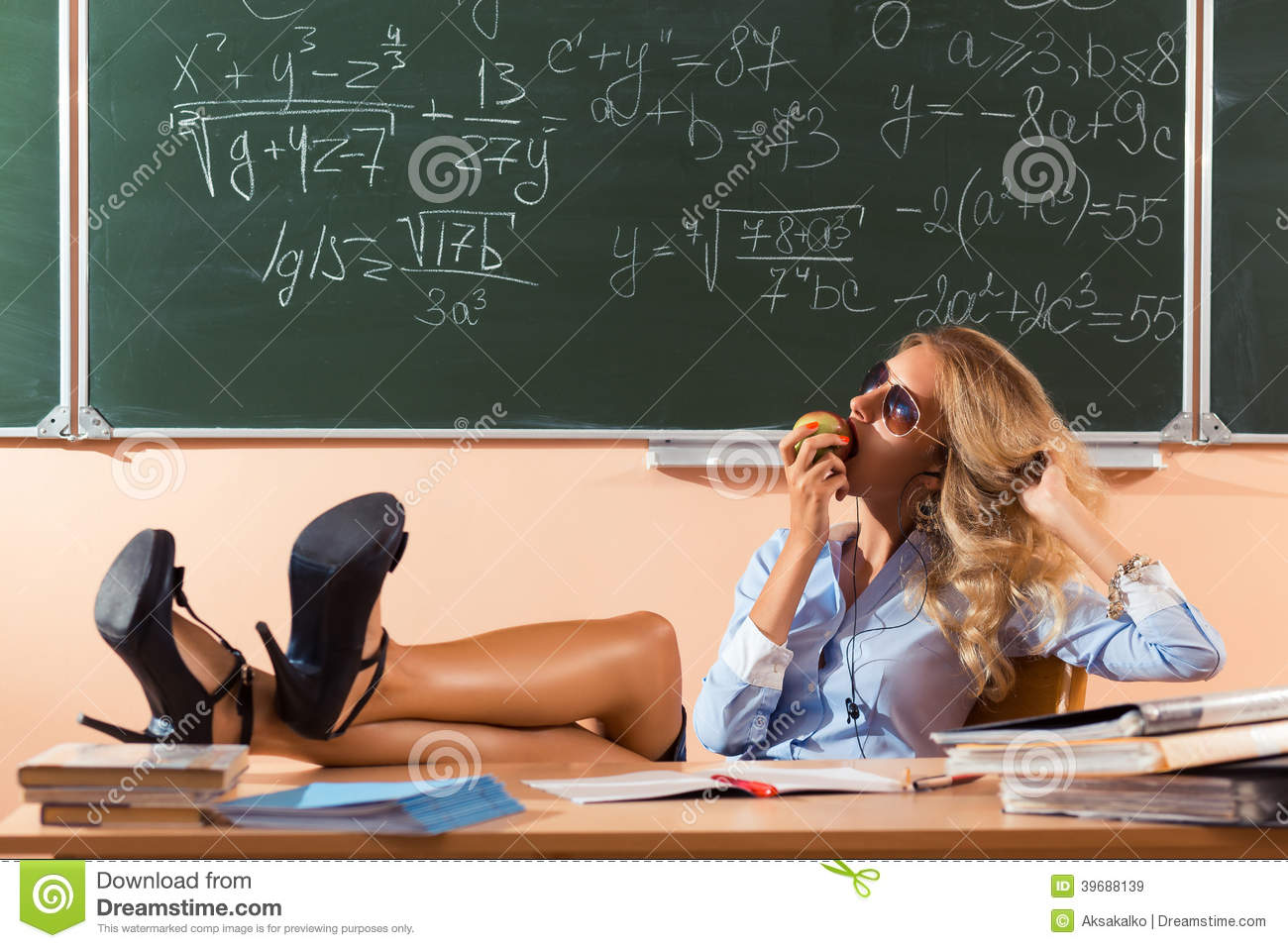 Beautiful Young Sexy Teacher Stock Photo - Image: 39688139: http://www.dreamstime.com/royalty-free-stock-images-beautiful-young-sexy-teacher-resting-classes-image39688139