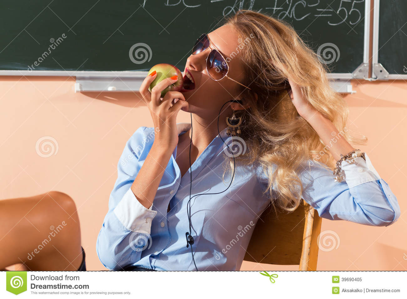 Beautiful Young Sexy Teacher Stock Photo - Image: 39690405: http://www.dreamstime.com/royalty-free-stock-photo-beautiful-young-sexy-teacher-resting-classes-image39690405