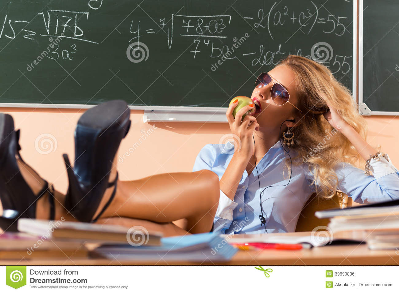 Beautiful Young Sexy Teacher Stock Photo - Image: 39690836: http://www.dreamstime.com/royalty-free-stock-image-beautiful-young-sexy-teacher-resting-classes-image39690836