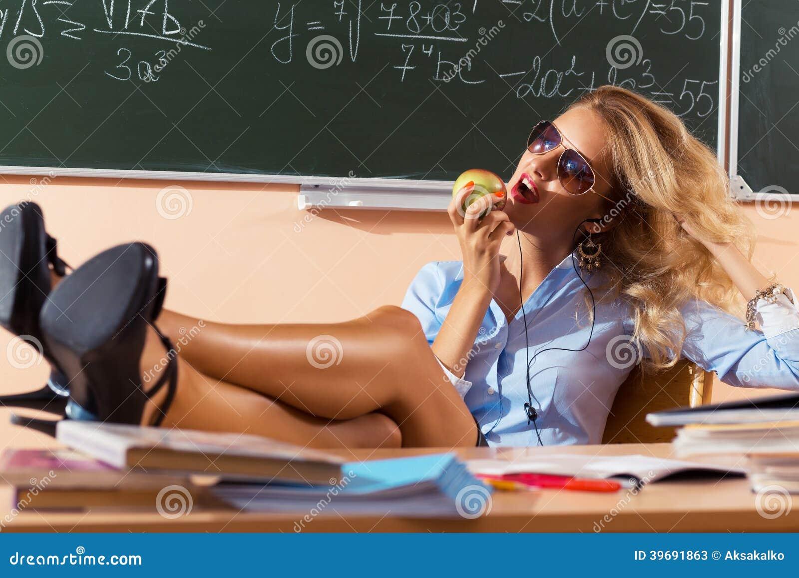 Beautiful Young Sexy Teacher Stock Photo - Image: 39691863: http://www.dreamstime.com/stock-photos-beautiful-young-sexy-teacher-resting-classes-image39691863