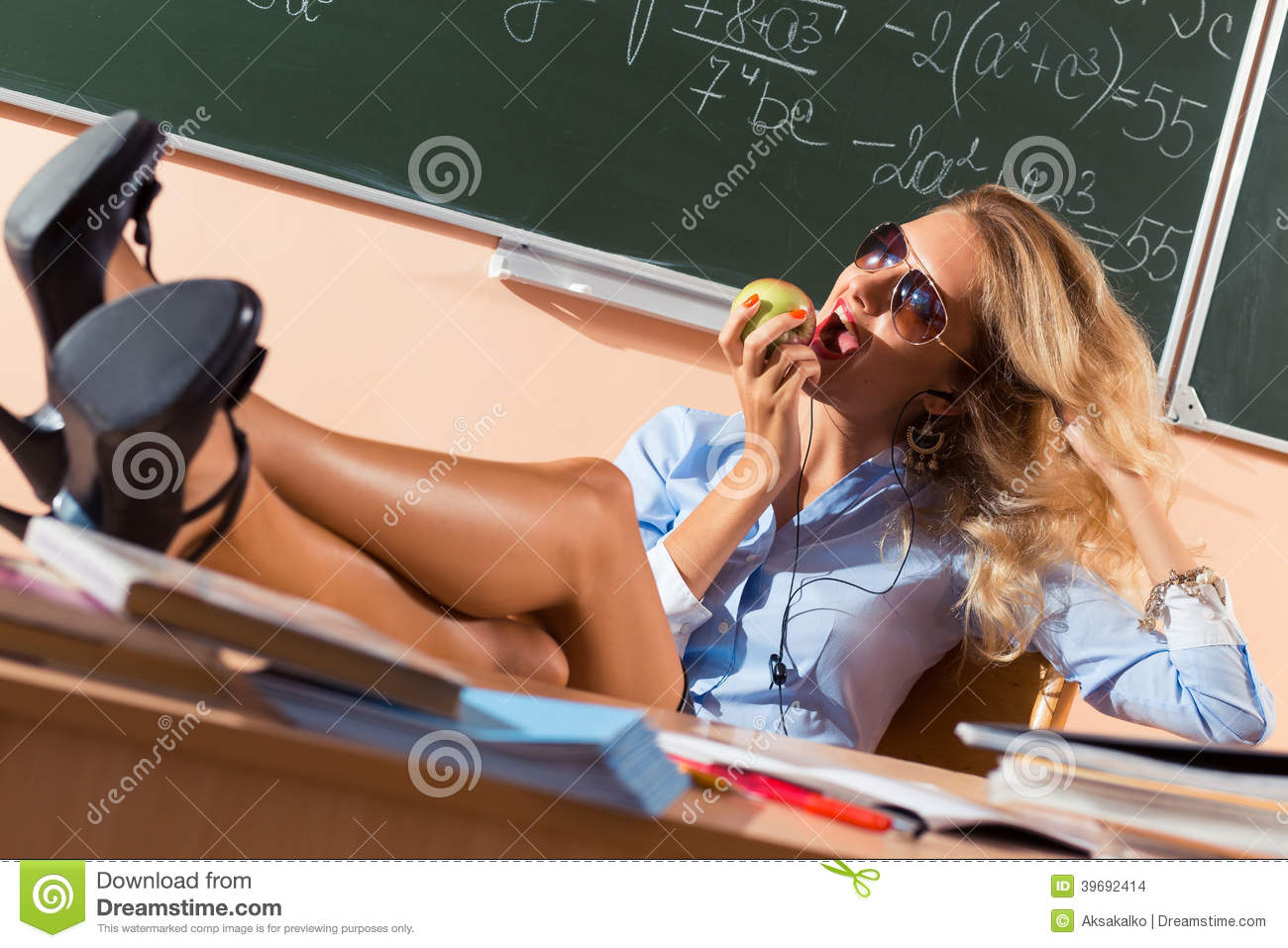 Beautiful Young Sexy Teacher Stock Photo - Image: 39692414: http://dreamstime.com/stock-images-beautiful-young-sexy-teacher-resting-classes-image39692414