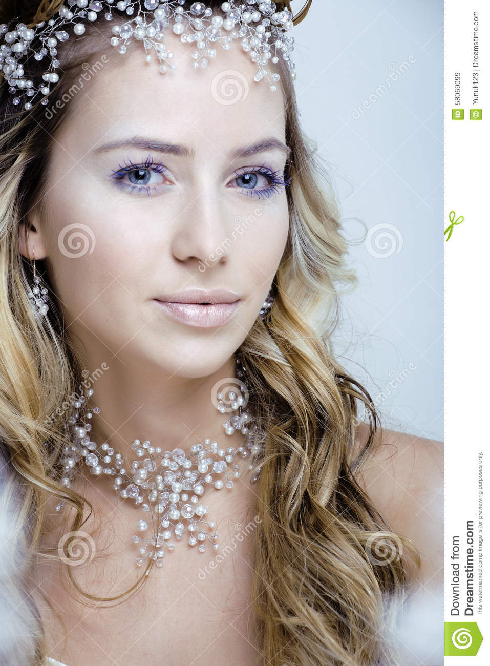 Beautiful Young Snow Queen Make Up And Jewelry Ice Stock