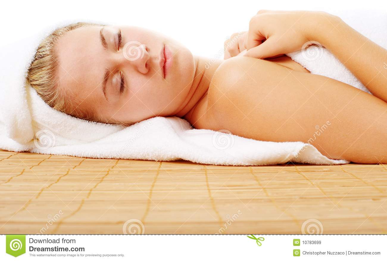 Beautiful Young Spa Vrouw op Wit