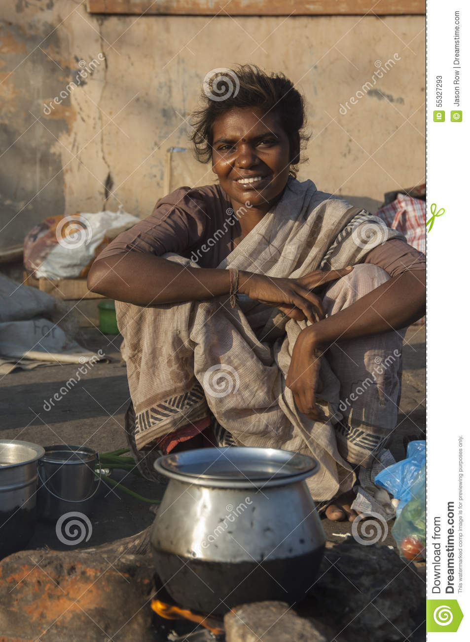 Beautiful young street woman in Chennai, India