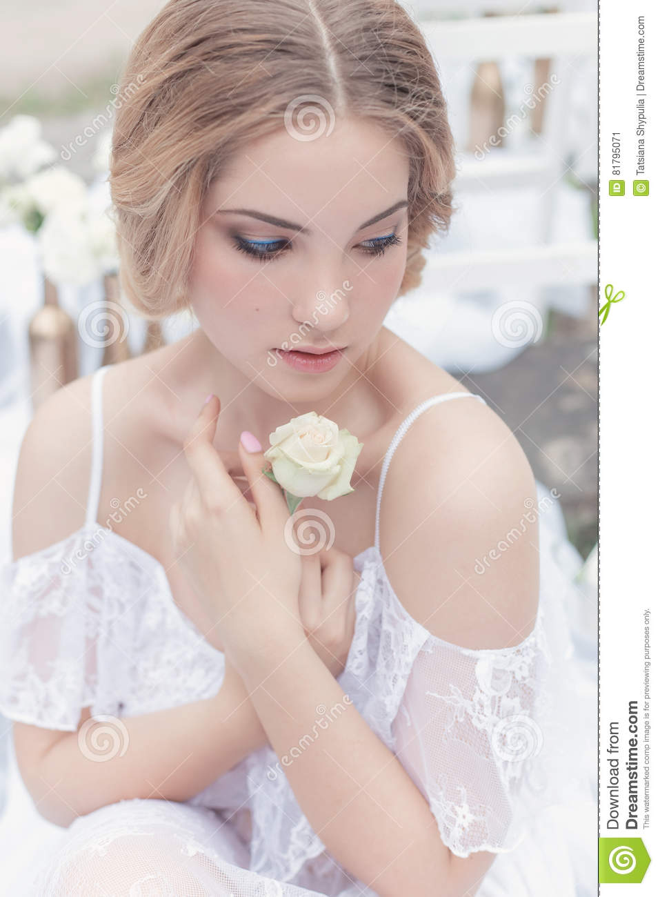 Download Beautiful Young Sweet Blonde Girl With Wedding Bouquet In The Hands Of The Boudoir In