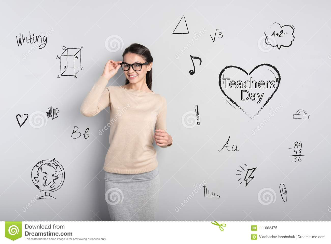Beautiful young teacher smiling while celebrating Teachers Day