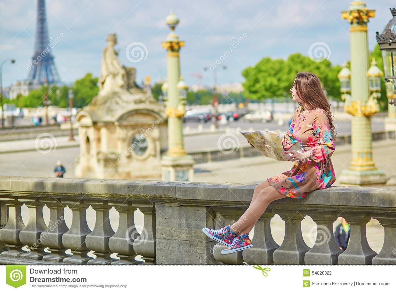 Beautiful Young Tourist With Map Of Paris Stock Photo - Image of ...
