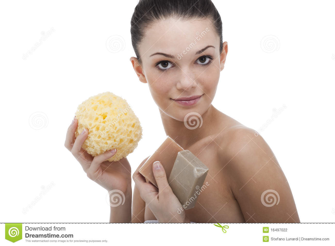 Beautiful young woman with aroma soap